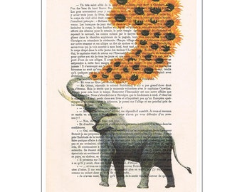 Elephant Print Drawing illustration, Sun Flowers, dictionary book page, digital, happy animal, by Coco de Paris