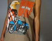Vintage Harley Davidson Tee S M L Home of the Brave USA American Eagle Motorcycle Tunic Tank Biker Babe Boho Hippie Club Kid Gypsy Festival