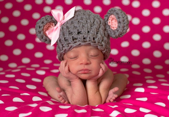 Baby Mouse Hat, Crochet Baby Hat, Mouse Costume, Mouse Hat, Baby Halloween, Baby Girl Hat, Newborn Baby Hat, Newborn Prop, Crochet Baby Hat