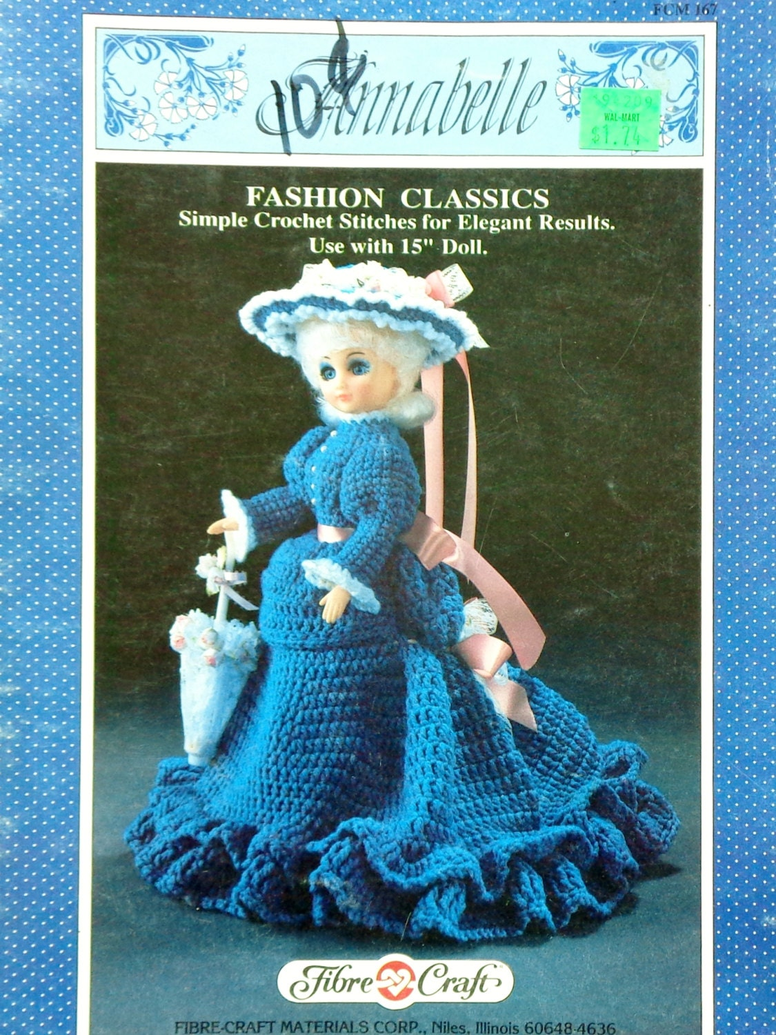 Fibre fiber craft annabelle 15 doll crochet doll dress for Fibre craft 18 inch doll