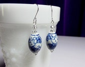 Dutch Blue and Crystal Drop Earrings, Mother Sister Bridesmaid Girlfriend Jewelry Gift, Christmas