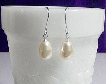 Swarovski Creamrose Pearl Drop Earrings, Wedding Jewelry Bridesmaid Earrings  Gift Mom Sister Grandmother Jewelry, Christmas Gift