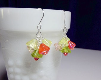 Orange Yellow Green Pink Flower Crystal Cluster Earrings, Christmas Mom Sister Bridesmaid Girlfriend Jewelry Gift, Cocktail