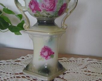 Austria Pedestal Vase, Austria Pedestal Urn, Austria Hand Painted Vase, 1920's Marked Antique Urn Style Vase, Antique Pedestal Vase, NICE