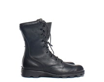 7R  | Vintage Combat Boots Standard Issue Black Leather Army Boots Dated 1989