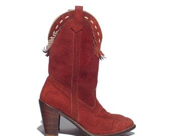 7 | Women's Acme Suede Fringe Cowboy Boots Brick Red