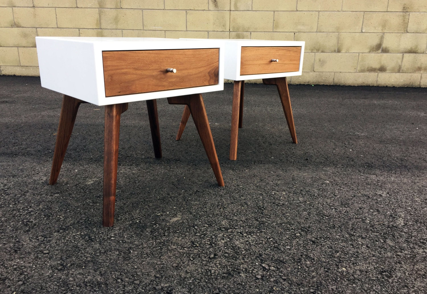 Mid century modern nightstand night stand by monkehaus on etsy