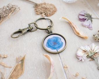 Blue Flower Keychain - Blue Poppy - Botanical Illustration - Nature Inspired - Rustic - Blue Flower - Organizer