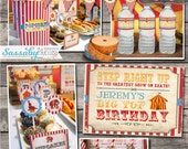 Vintage Circus Party Collection Aqua Combo - INSTANT DOWNLOAD - Printable & Editable Birthday Party Decorations by Sassaby
