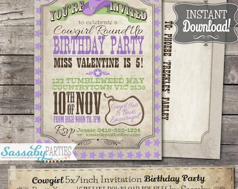 Cowgirl Invitation Lime/Purple - INSTANT DOWNLOAD - Editable & Printable Green, Rodeo, Roundup, Birthday Party Invite by Sassaby Parties