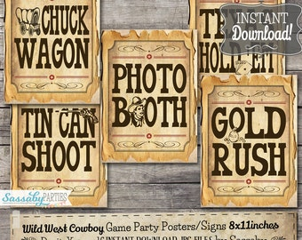 30 Cowboy Game Signs/Party Posters - INSTANT DOWNLOAD - Wild West Printable Party Decorations, Games, Food, Sideshow by Sassaby Parties