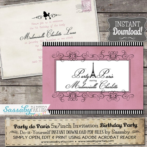 Party de Paris Girls Party Invitation - INSTANT DOWNLOAD - Editable & Printable French Parlor, Parisian, Eiffel Tower Birthday Invite