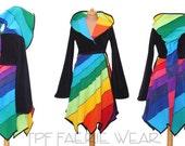 Rainbow* Fleece Spiral knee length Tournedot Jacket with pixie hem.12 stripe spiral extreme pixie hood/ you choose sleeve design