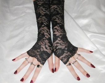 Black Lace Arm Warmers Fingerless gloves - Rosary - Hand fasting wedding floral gothic vampire vamp goth burlesque belly dance nior