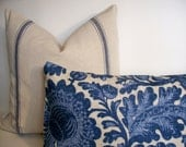 Blue Linen Pillow Cover Waverly Tucker Resist Indigo Decorative Pillow Cover Blue Bird