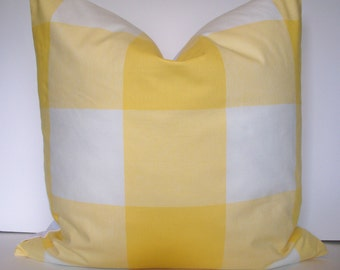 Yellow Pillow Cover Yellow Check Pillow Yellow Buffalo Check Gingham Check Pillow Large Yellow Check