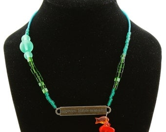 Go Fish Necklace Red Sea Glass with Gold Fish Charm Matte Green Sea Glass