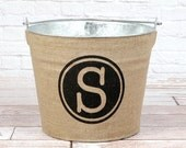 20% OFF! Personalized Burlap Bucket with black circle design.....Modern meets Rustic.
