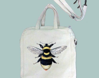Bee, Honey Bee, Insect Vintage Illustration Canvas Purse, Tablet Bag/Carrier, Cosmetic Case -- Removable, Adjustable shoulder strap