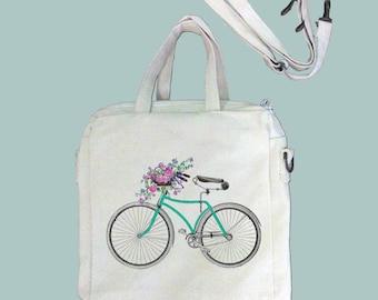 Vintage Bicycle and Flower Basket Color Illustration Canvas Purse, Tablet Bag/Carrier, Cosmetic Case -- Removable, Adjustable shoulder strap