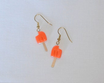 Orange Cream Popcycle Earings - Handmade - Polymer Clay - Dangle Earrings