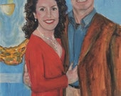 Donna's In laws  Original oil painting of beautiful couple  by Marlene Kurland 16 x 20  In progress  Weddin Gift for Parents