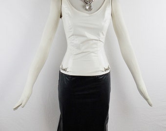 Vintage PACO RABANNE NYLON Latex Punk Fashion Fitted Wiggle Dress Size Small Black and White