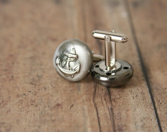 Anchor Cuff Links Nautical Cuff Links - made with vintage anchor buttons