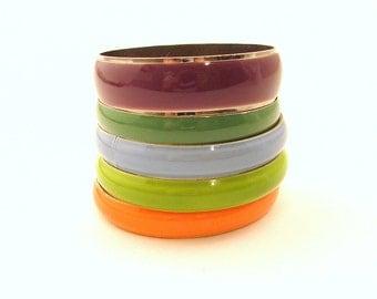 SALE Five Vintage Enamel Bangles - Enameled Metal Bracelet Set - Orange, Green, Blue, Purple - Colorful