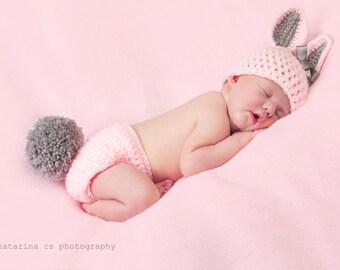 Newborn Bunny Hat, Bunny Diaper Cover Set, Newborn Photo Prop, Baby Bunny Hat, Newborn Nappy, Newborn Easter Prop, Infant Rabbit Hat, Bunny