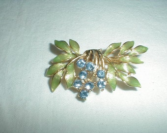 vintage joan rivers brooch foliate pin blue topaz crystals green enamel leaves floral sparkling blue topaz pin 1980s pin joan rivers