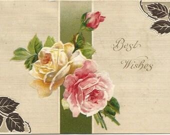 Pink Rose White Rose Pink Rose Bud Best Wishes Vintage Postcards 1910 Ephemera