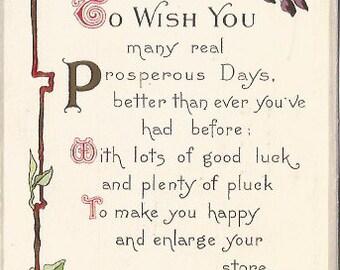 Sweet Peas surround this beautiful greeting card poem verse Vintage Postcard