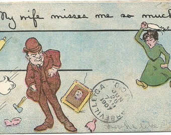 My Wife Misses Me So Much 100 year old Vintage Comic Postcard