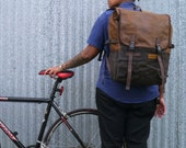 Brown  / Roll top backpack, waxed canvas cycling backpack