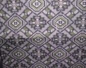 Sale  DIAMOND TSUMUGI  Vintage Japanese Kimono silk  Traditional pattern  Grey, Black, Deep Green and White 14 .5 x 72 inches