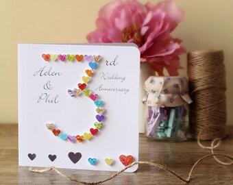 3rd Wedding Anniversary Card - Handmade - Personalised - 3rd Anniversary Card - Husband - Wife - 3 Wedding Anniversary - 3D - BHAN03
