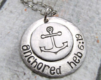 Personalized Anchor Necklace -  Personalized Necklace - Hand Stamped Necklace - Soldered Pendant - Personalized Jewelry - Metalwork Pewter