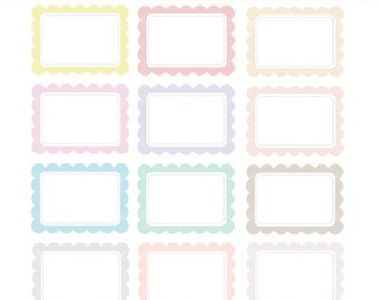 labels scalloped rectangle frames digital clipart clip art - Pastel Scalloped Rectangle Digital Labels
