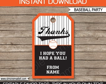 Baseball Favor Tags - Thank You Tags - Orange and Black - Birthday Party Favors - INSTANT DOWNLOAD with EDITABLE text - you personalize