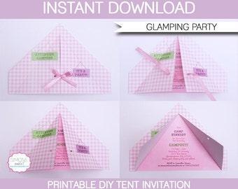 Camping Tent Invitation Template - Glamping Birthday Party - INSTANT DOWNLOAD with EDITABLE text - you personalize at home