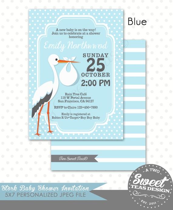 Stork Baby Shower Invitation Pink Blue Yellow Mint Lavender Gender