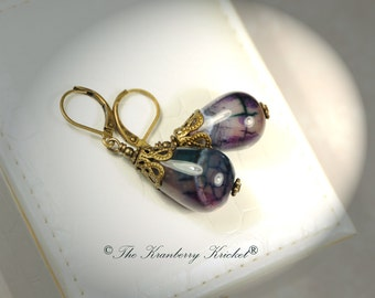 Teal and Purple Dragon Vein Agate Tear Drop Leverback Earrings