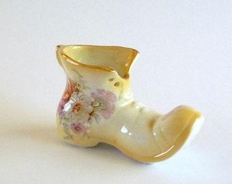 Vintage Porcelain Shoe Planter Signed Old Foley