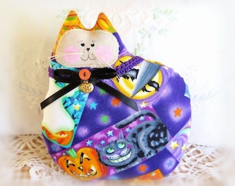 Halloween Cat Pillow, Cat Doll, 7 in. Bright Purple Orange Black Blue, Soft Sculpture Handmade CharlotteStyle Decorative Folk Art