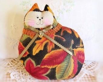 Cat Pillow, Autumn Cat Doll, 7 inch, Fall Leaves Print, Halloween Primitive Soft Sculpture Handmade CharlotteStyle Decorative Folk Art