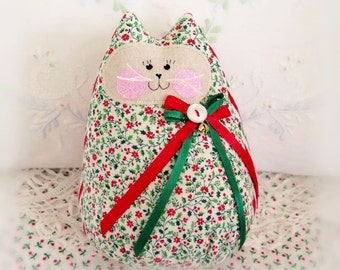 Christmas Cat Doll 6 inch Free Standing Kitty, Holly Cotton Print, Soft Sculpture Doll Primitive Handmade CharlotteStyle Decorative