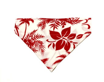 Large Red and White Hawaiian Slip On Dog Bandana Over the Collar
