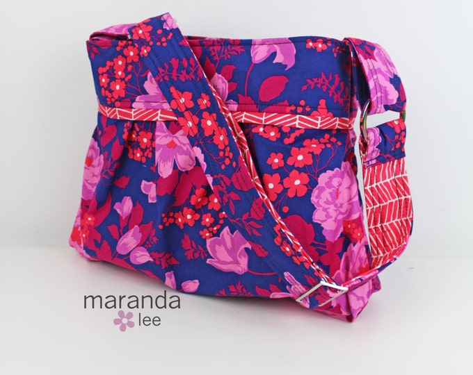 Stella Diaper Bag - Medium - Flora Orchid with Poppies Trellis -Navy Lavender Coral - Nappy Bag 6 pockets - Attach to Stroller