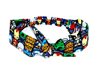Headband made with Avengers Fabric, Made with Hulk Marvel Iron Man Thor Fabric Rockabilly Style Big Bow Hairband Head Scarf